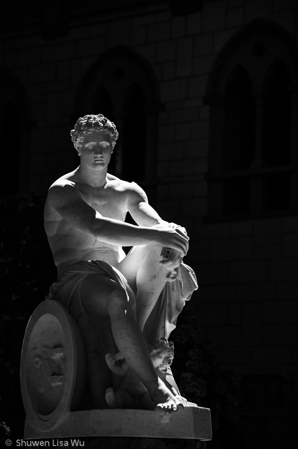 Sidelight falling onto a marble statue at Hearst Castle.