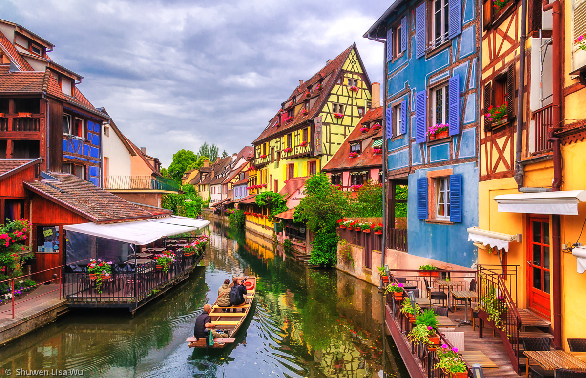 Houses along the channel of La Petite Venise, Colmar, France.