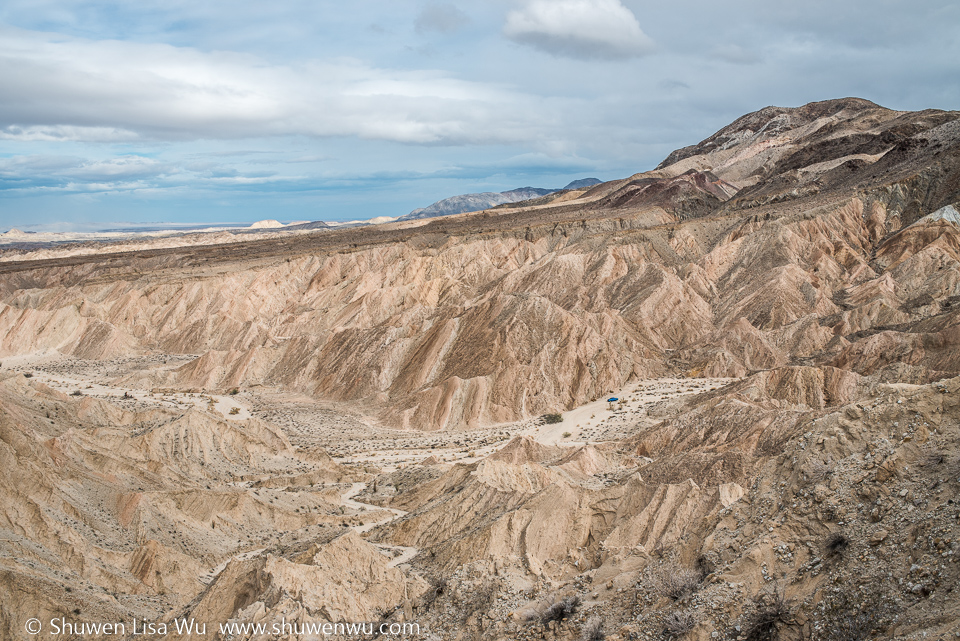 Blue Car in Canyon Sin Nombre, Carrizo Badlands, Southern Anza Borrego, San Diego County, CA.