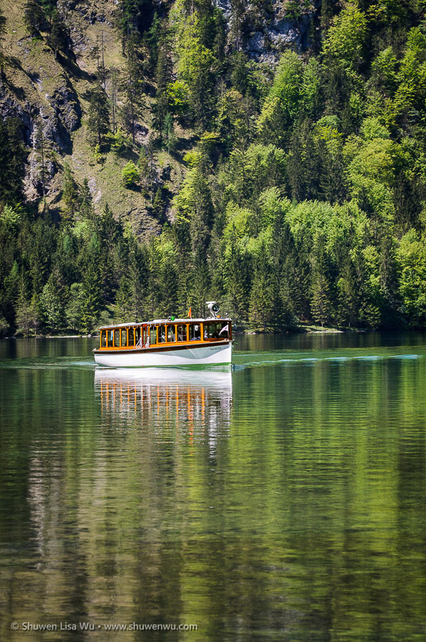 Boat at Königssee, Nationalpark Berchtesgaden, Bavaria, Germany.