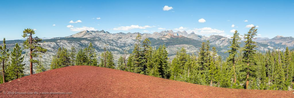 Panorama of the Ritter Range, made from the Red Cones, Mammoth Lakes, California, September 2016.