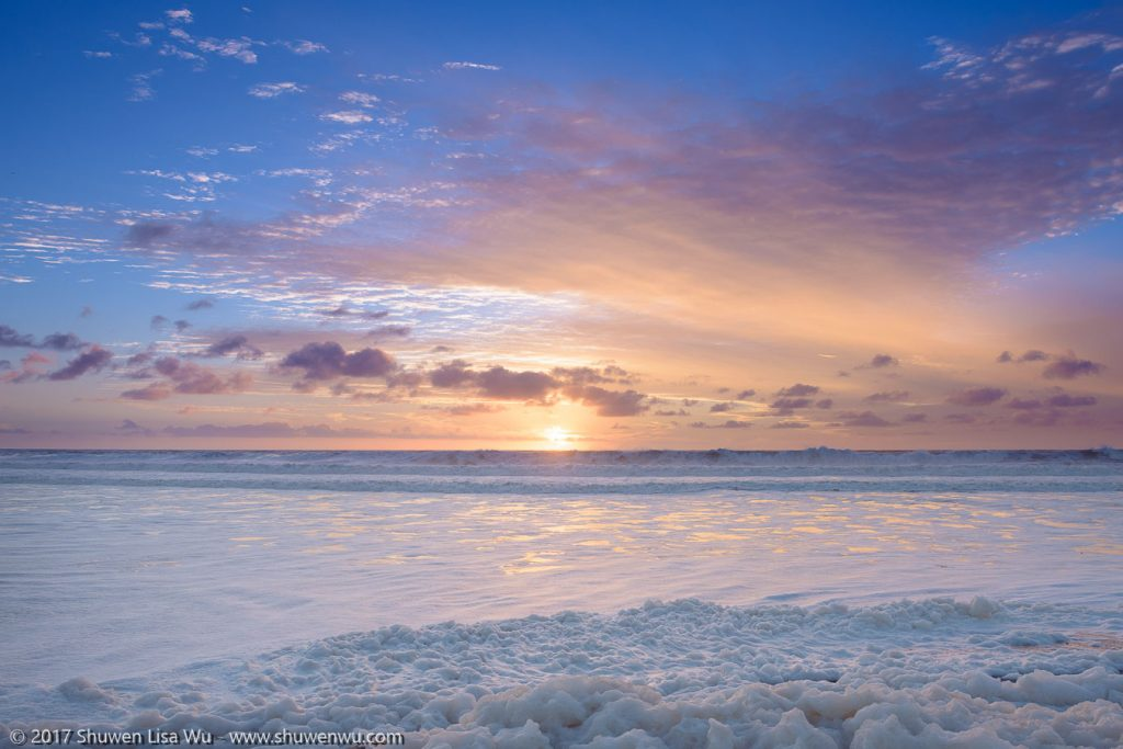 Sunset with seafoam, South Cardiff State Beach, San Diego, California. January 2017.
