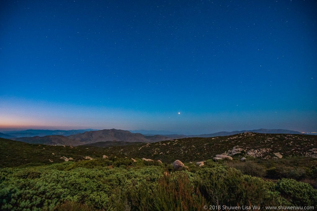 Granite Mountain and chaparral on a Moonlight Night at Mt. Laguna